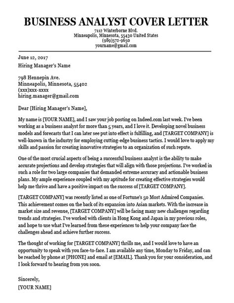 Cover Letter Sample For Business Analyst Sales Resume Skills