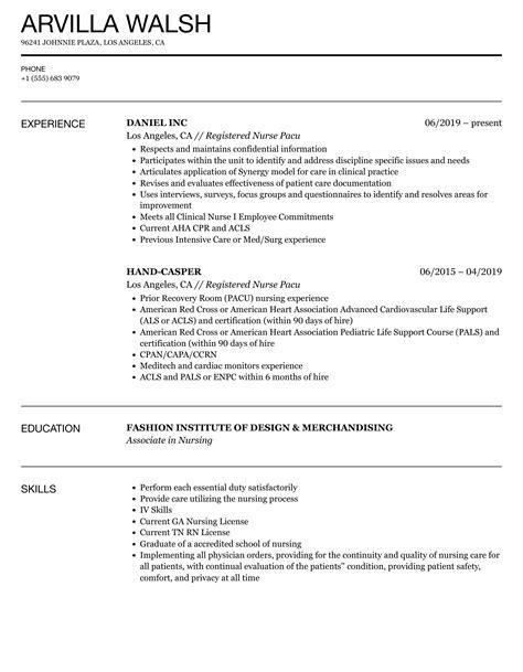 sample resume objective of a nurse sample of pacu nurse ...