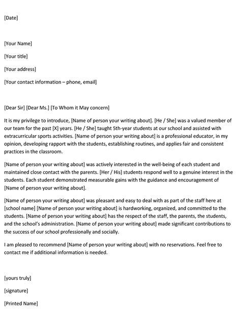 Reference Letter For English Teacher Sample