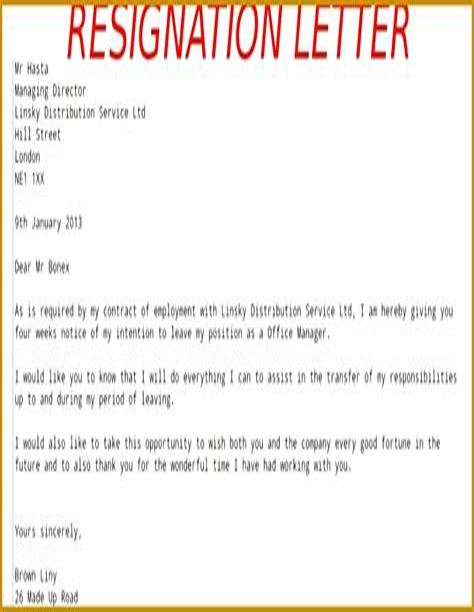 Sample Resignation Letter End Of Contract | Ejemplo De Un ...