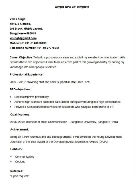 Sample Resume For Bpo Jobs Sample Cover Letters And Resumes