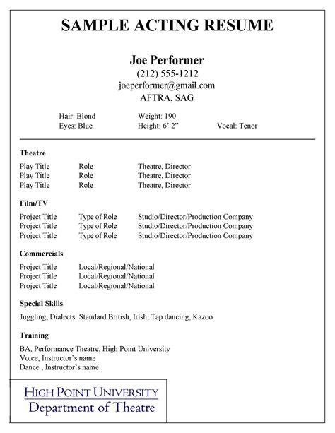 Sample Resume For Beginner Actors | Resume Warehouse Work ...