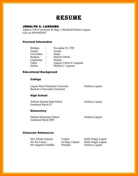 Sample Resume Format With Character Reference Curriculum Vitae