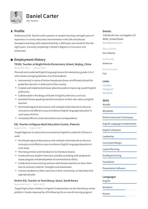 Sample Resume English Teacher Japan | Resume Format For