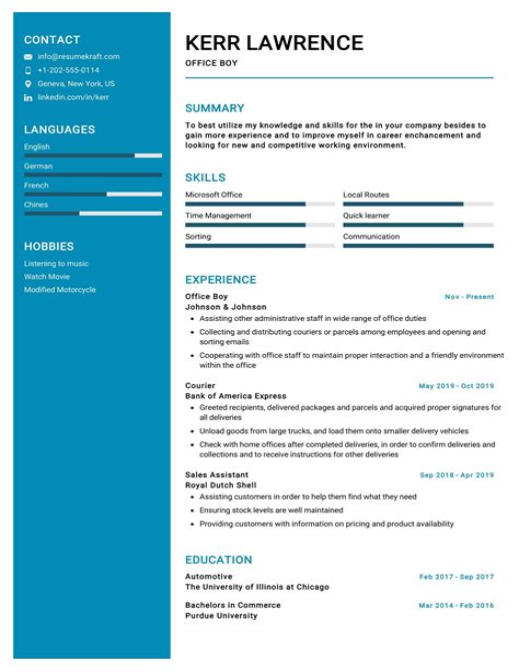 Cv Format Office Boy Office Boy Resume Template Mailroom Clerk