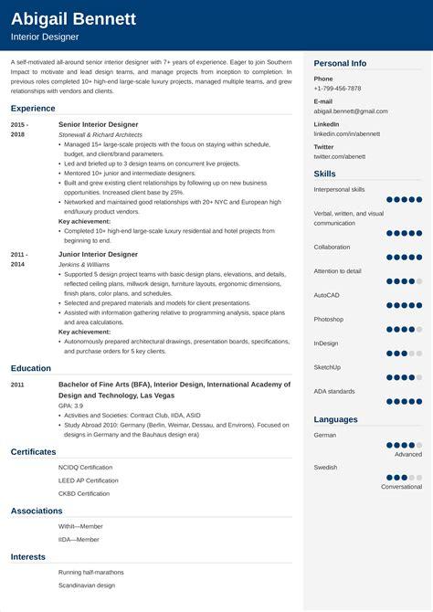 Sample Resume Interior Designer Fresher Form B Sample