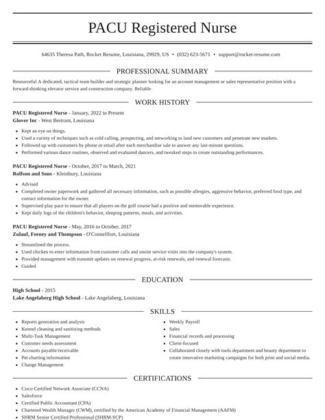 Sample Resume Newly Registered Nurse Without Experience ...
