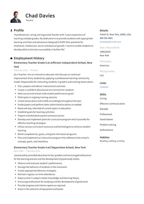 Resume For A Teaching Job
