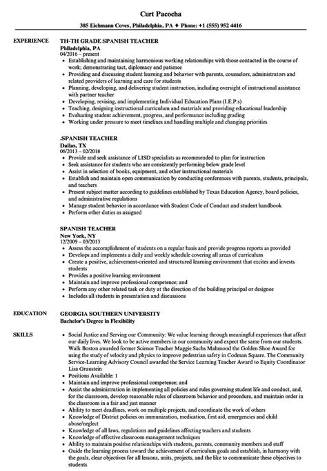 Free Resume Samples Spanish Teacher Sample For
