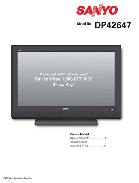sanyo dp42647 reviews pdf manual