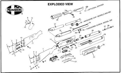 Schematic Mossberg 500 12 Gauge Shotguns