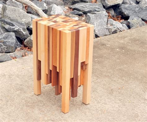 scrap wood end grain end table how to build woodworking Image