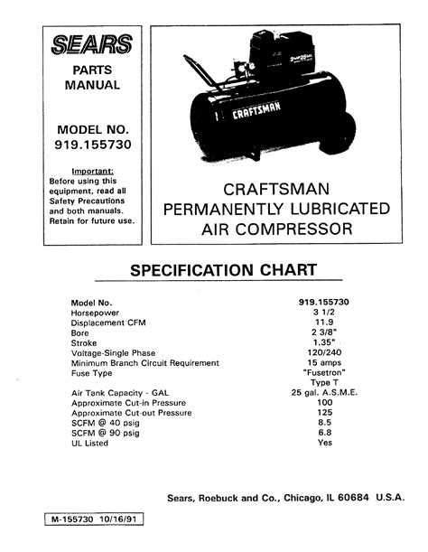 sears 5.5 hp air compressor pdf manual