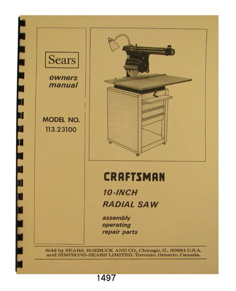 sears craftsman 10 inch radial arm saw parts pdf manual