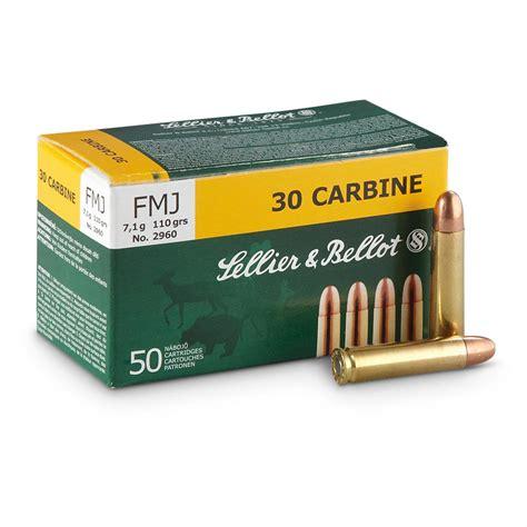 Sellier Bellot 30 Carbine 110gr Fmj Ammo 30 Carbine 110gr Full Metal Jacket 50box