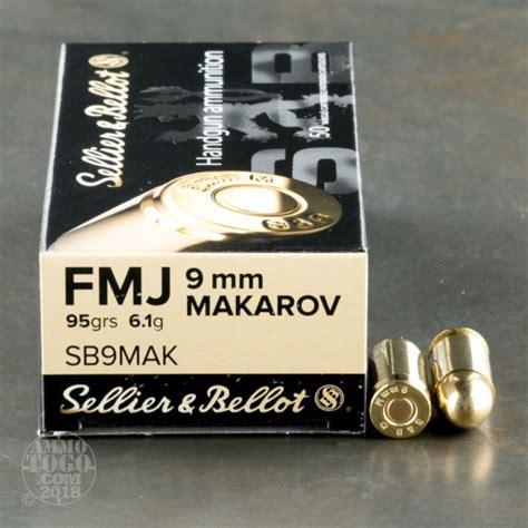Sellier Bellot 9x18mm Makarov 95gr Fmj Ammo 9x18mm Makarov 95gr Full Metal Jacket 50box