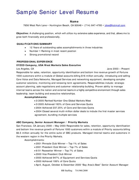 Senior Executive Service Resume Examples | Free Birthday ...