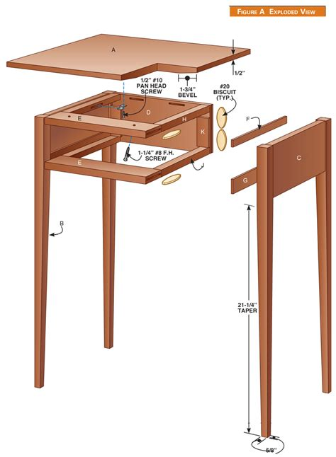 Shaker side table woodworking plan Image