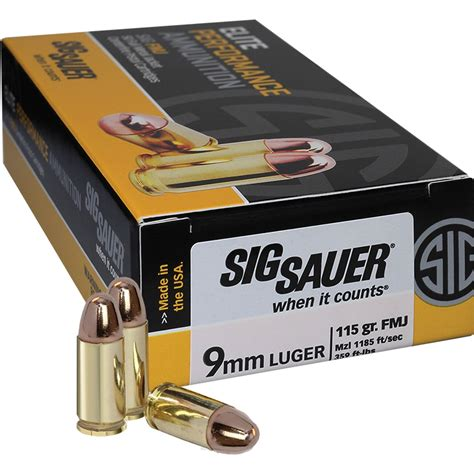 Sig Sauer Elite Performance 9mm 115gr Ball Fmj Ammo 50 And 9mm Luger 9x19 Parabellum Ammo Handgun Black Hills