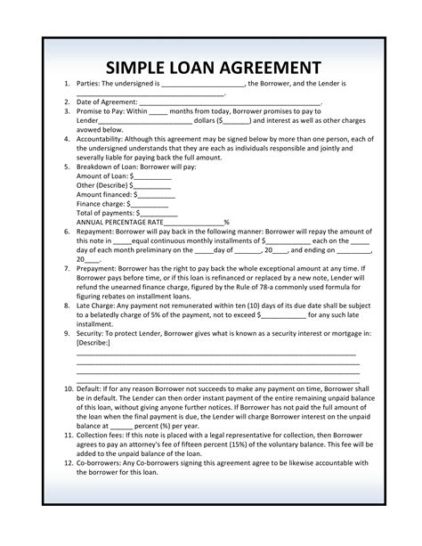 Simple Loan Agreement Template Free Download How To Write