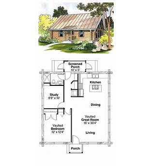 Small One Bedroom One Bathroom Log Cabin Floor Plans