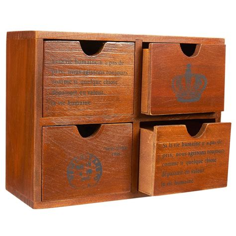 Small wooden box with drawers Image