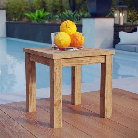 Small wooden outdoor table Image