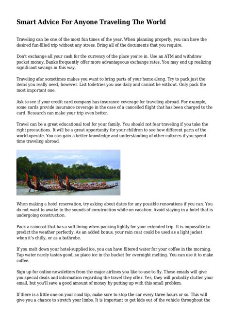 Smart Advice For Anyone Traveling The World