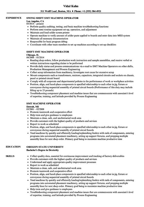 Smt Operator Resume Process Examples Cover Letter
