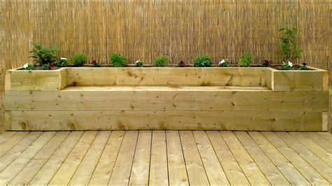 Softwood decking raised bed bench Image