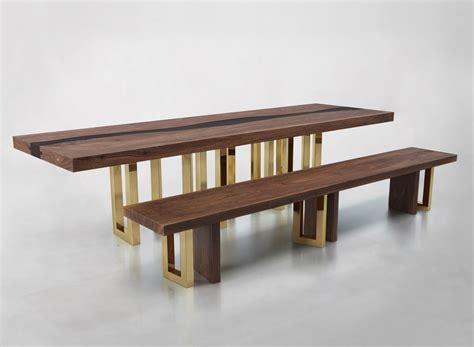 Solid wooden bench Image