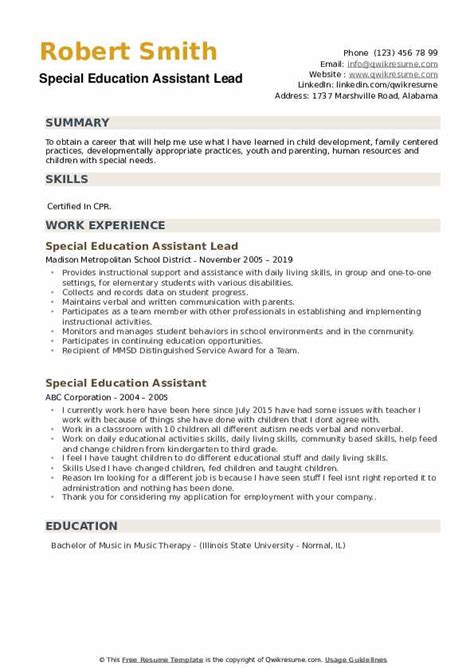 Special Education Assistant Resume
