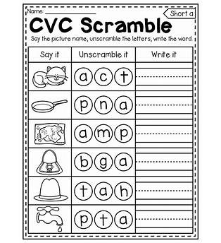 Spelling Worksheets For Kindergarten Printable