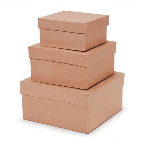 Square paper mache boxes with lids Image