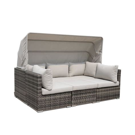 Strawser 4 Piece Courtyard Casual Daybed Set with Cushions