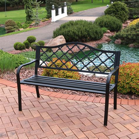 Stripling Outdoor Lattice Patio Cast Iron Garden Bench