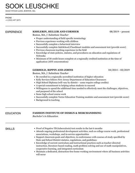 Substitute Teacher Job Description For Resume CV Templates Download Free CV Templates [optimizareseo.online]