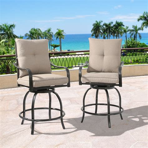Tall patio chairs and tables Image