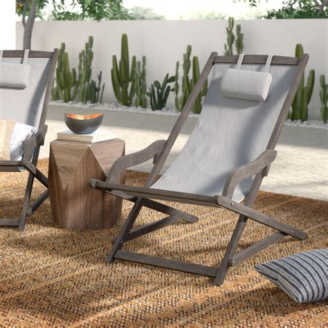 Tardiff Outdoor Wood and Canvas Sling Arm Chair (Set of 2)