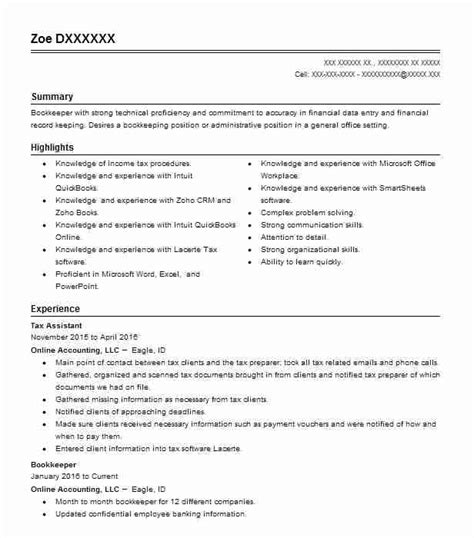 Tax Assistant Resume Sample Resumes Livecareer