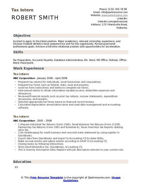 Accounting Internship Resume Sample