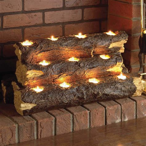 Tealight Fireplace Decorative Logs