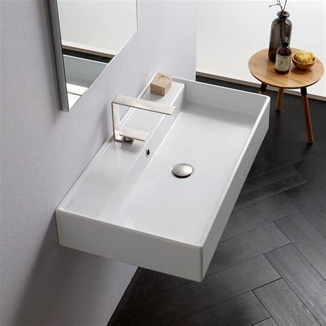 "Teorema Ceramic 16"" Wall Mount Bathroom Sink with Overflow"