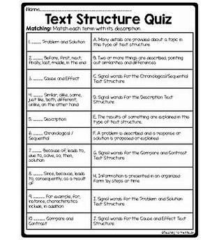 Text Structure Online Quiz