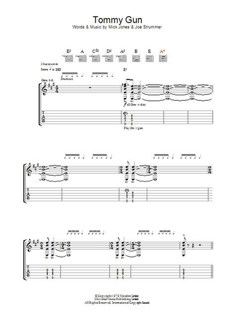 The Clash Tommy Gun Guitar Tab