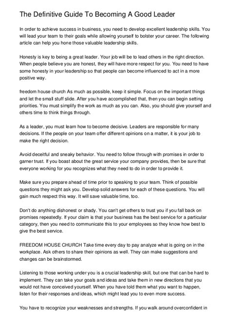 The Definitive Guide To Becoming A Good Leader