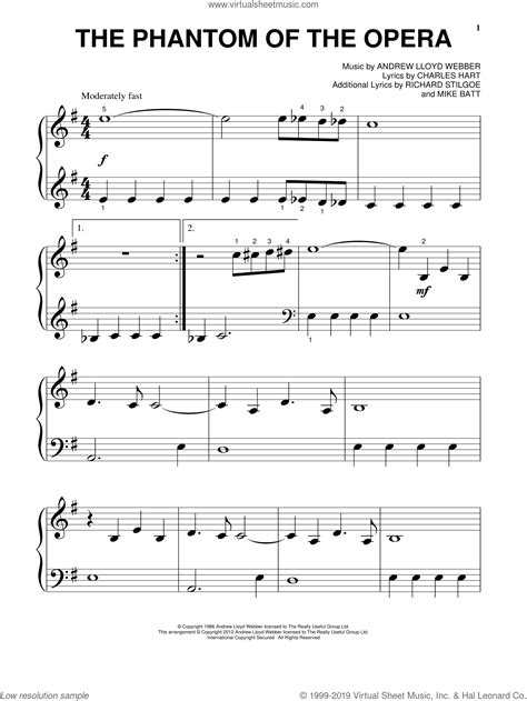 The Phantom Of The Opera Piano Sheet Music Pdf
