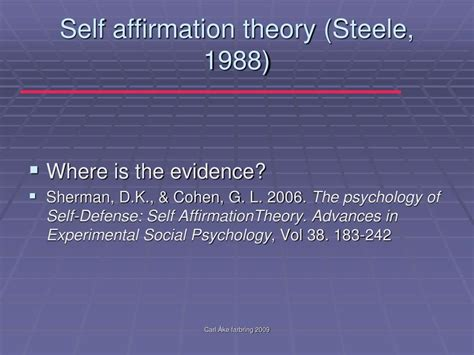 The Psychology Of Self Defense Self Affirmation Theory