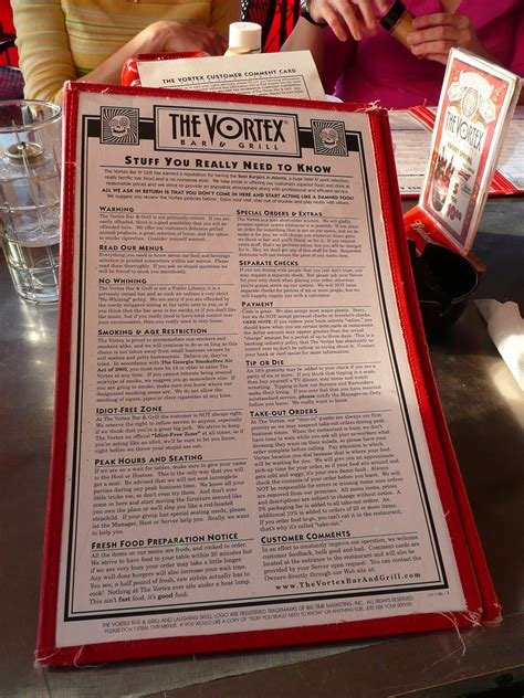The Vortex Menu Prices