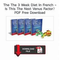 The 3 week diet in french is this the next venus factor? promotional codes